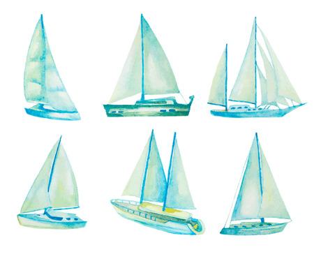 themes: watercolor sailboats set Illustration