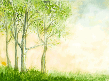 birch trees watercolor illustration Çizim