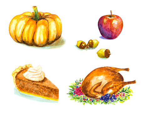 autumn food: thanksgiving day set with roasted turkey, grape, pumpkin, acorns, apple, pie. watercolor vector illustration