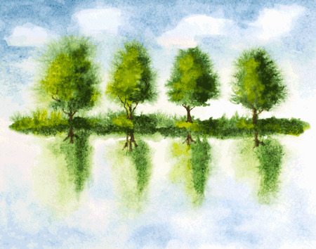 watercolor illustration of trees with reflections in lake water