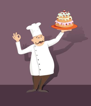 cartoon chef-kok met snorren die een dienblad met cake