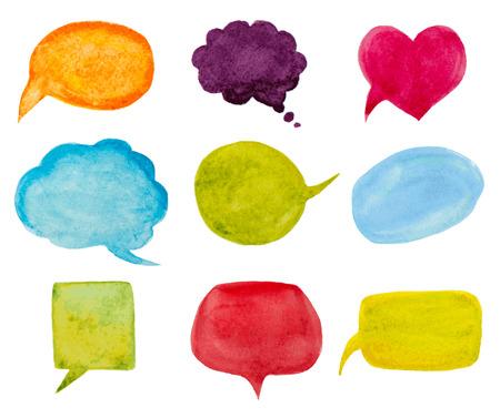 set of watercolor speech bubbles