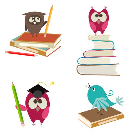 libro caricatura: pájaros lindos con los libros y lápices