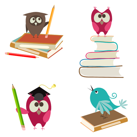 cute birds with books and pencils Illustration