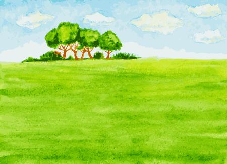 watercolor landscape view Illusztráció