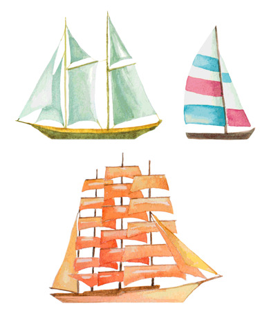 yacht: watercolor sailboats set Illustration