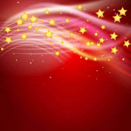 red abstract background: red abstract background with stars flying and light rays