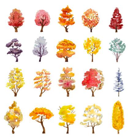 boom: set van de herfst bomen Stock Illustratie