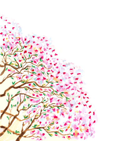 blossoming: abstract watercolor branches of blossoming tree