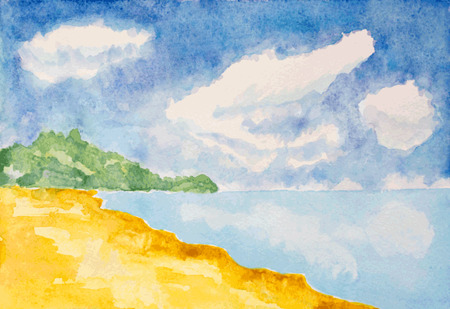 caribbean beach: watercolor beach landscape background