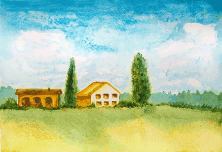 countryside: watercolor landscape view Illustration