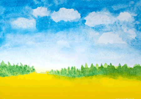 abstract watercolor landscape background Ilustração