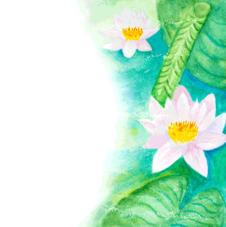 borders plants: watercolor water lillies background Illustration