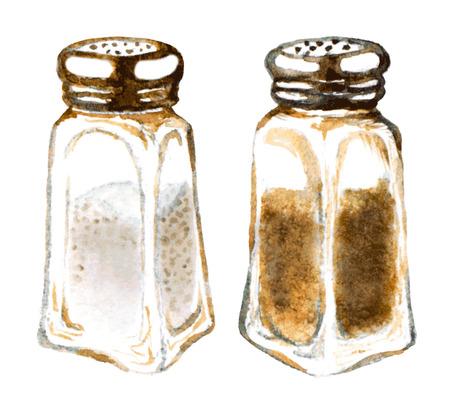 水彩の塩コショウ入れ  イラスト・ベクター素材