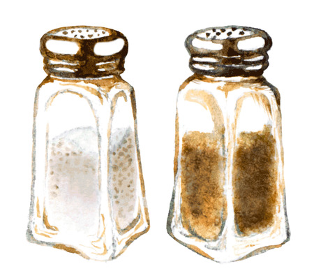 watercolor salt and pepper shakers Illustration