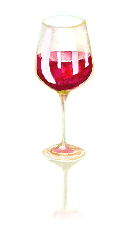 red wine: watercolor hand drawn glass of wine