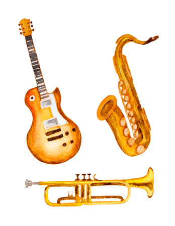 trumpet: watercolor illustration of musical instrument
