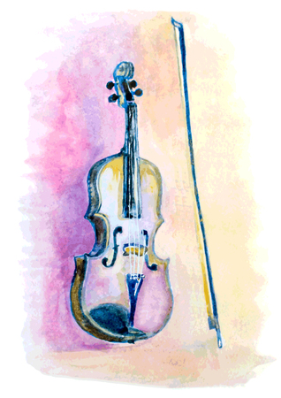 watercolor hand drawn violin and a bow