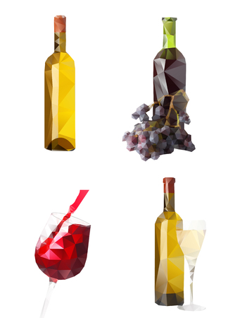 wine and food: Illustration of wine bottles