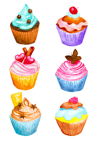 chocolate cupcake: set of cupcakes made in watercolor
