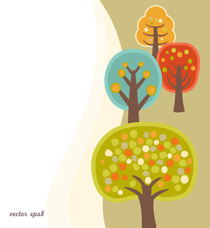 childish: background with cute childish trees Illustration