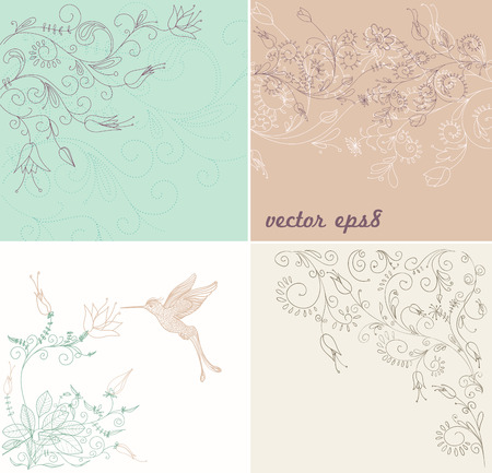 hummingbird: set of abstract background with floral ornaments