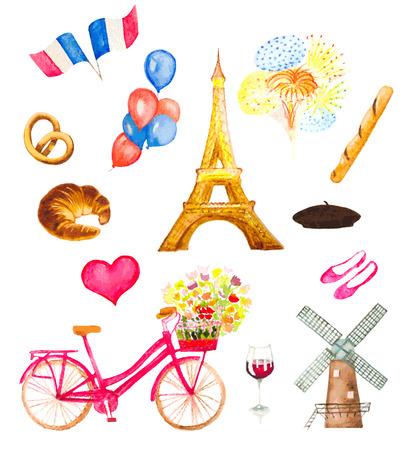 watercolor Paris icons illustration Illustration