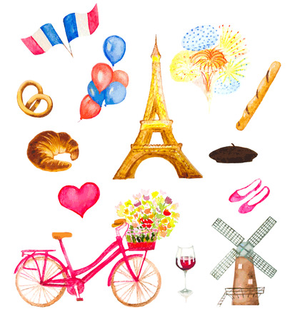 watercolor Paris icons illustration Illustration
