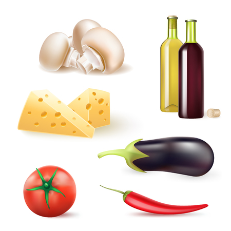 wine and food: set of vegetables and food ingredients with wine bottles Illustration