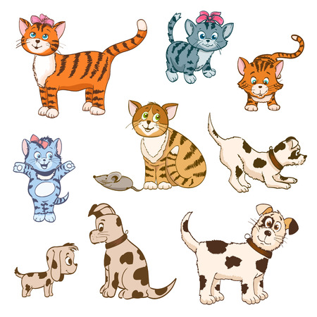 cat and mouse: set of cartoon cats and dogs. vector illustration Illustration