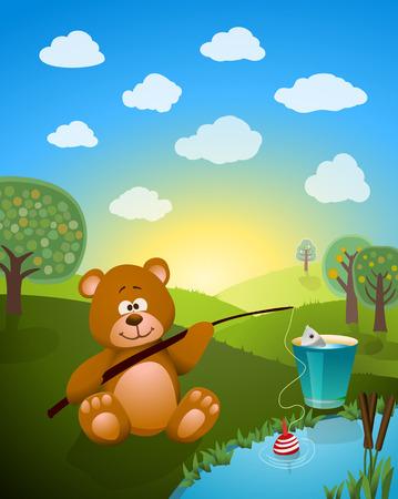 fish rod: cartoon bear fishing. vector illustration