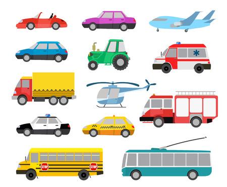 montacargas: conjunto de dibujos animados lindos autos y vehículos. ilustración vectorial