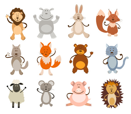 cat and mouse: set of cute animals. vector illustration