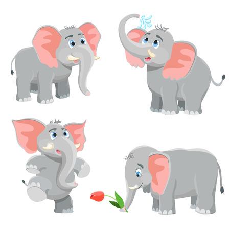 ELEFANTE: establece elefante de dibujos animados. ilustración vectorial