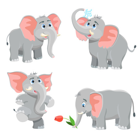 cartoon elephant set. vector illustration Illustration