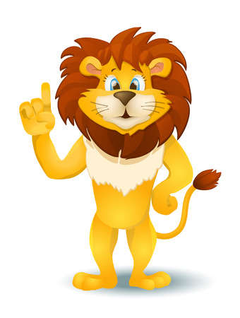 standing lion: cartoon lion standing and pointing. vector illustration