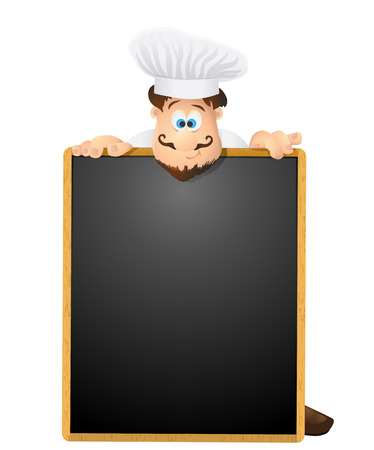 chalk drawing: chef and menu chalkboard background. vector illustration