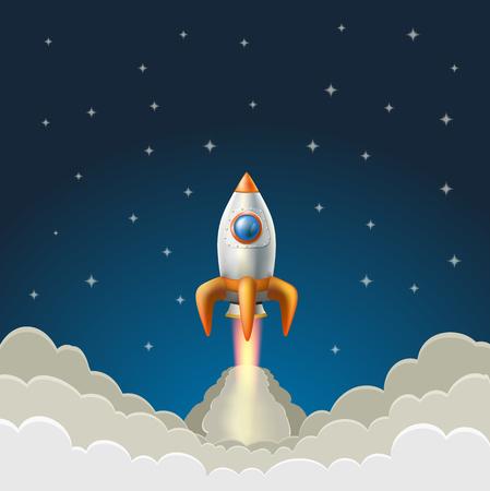 rocketship: flying rocket on a starry blue background. vector illustration