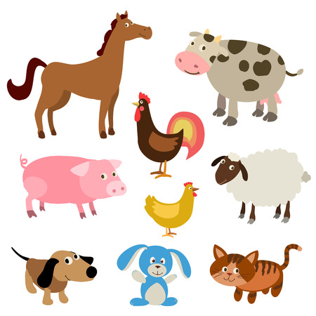 barnyard: set of cute cartoon farm animals. vector illustration