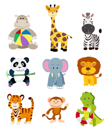 set of vector jungle cartoon animals
