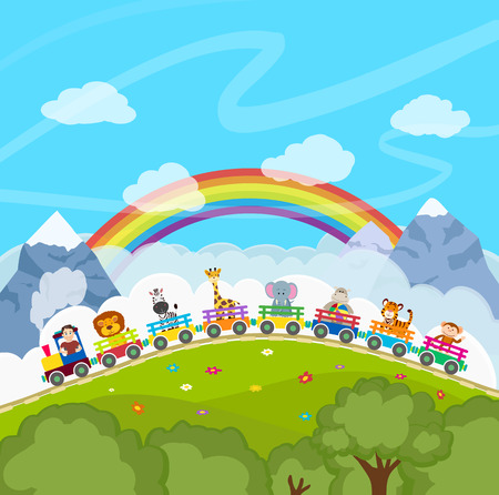 rainbow scene: cartoon railway train with animals. vector illustration Illustration