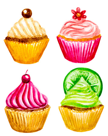 vectorized: set of vectorized watercolor cupcakes