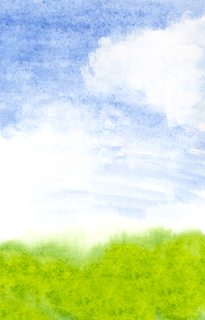 vectorized: abstract landscape with grass and clouds. vectorized watercolor Illustration