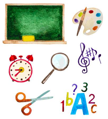 vectorized: vectorized set of watercolor school items