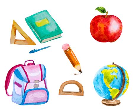 vectorized: set of vectorized watercolor school items Illustration
