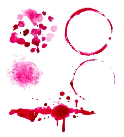 vectorized: vectorized watercolor wine splashes and blots set