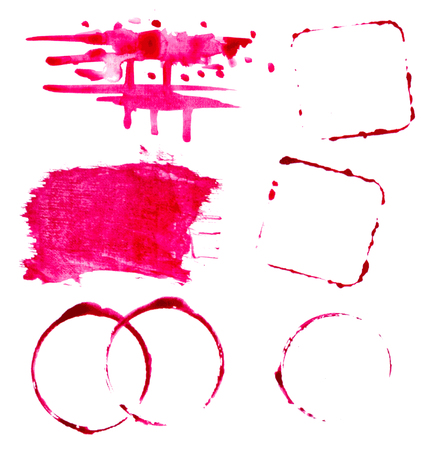 vectorized: vectorized watercolor red wine splashes and blots set 2