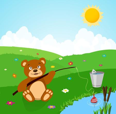 fish rod: cartoon cute bear fishing.