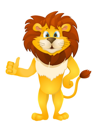 lion cartoon: cute cartoon standing lion.
