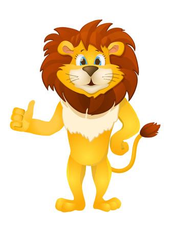 leones: lindo león de la historieta de pie. Vectores